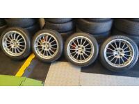 MSW 16 alloy wheels + 4 x tyres 205 45 16 Vauxhall Citroen Honda Peugeot Renault Seat