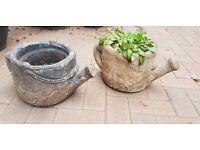 Stone Garden Watering Can Garden Planters / Patio Ornaments