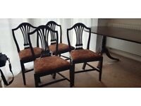 Mahogany extendable table and 4 edwardian chairs