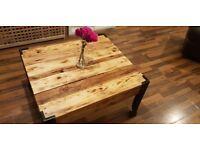 Handmade coffee table reclaimed wood and steel legs