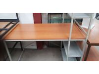 Straight Desk With Metal Shelving Attached