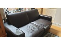 Brown Leather Sofa Bed (Double) MADE COM OK condition RRP£700