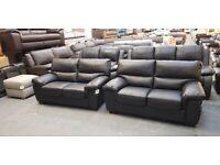 Ex-display Lynx black leather pair of 2 seater sofas