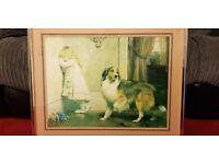 Antique Charles Burton Barber Framed Print Special Victorian Pleader Girl w/ Collie Dog