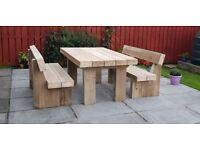 Garden table and benches railway sleeper FREE DELIVERY brand new sleepers LoughviewJoineryLTD