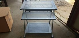 Small Mobile Metal Computer Table With A Pull Out Tray