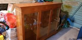 Traditional yew wood display cabinet