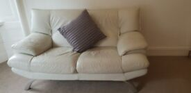 White Leather Sofa + Matching Chair