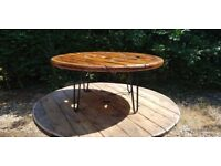 Vintage Retro Bar Table Round Cable Reel hairpin legs Coffee Table [1/3]