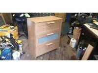 Chest of Drawers Ikea Brimes 78cm X 95cm Oak Effect 3 drawers