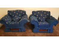 Blue Sofa Set - 2 x 3 seater & 2 x 1 seater