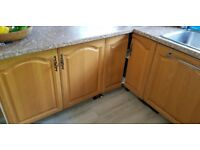 Used wood ( oak?) Kitchen base and wall doors,drawers and handles