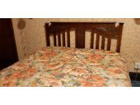 Double Divan Bed with Vintage Wooden Headboard