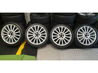 VW R32 Genuine 18 alloy wheels + 4 x tyres 225 40 18 Audi VW Skoda Seat