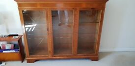 Classy traditional display cabinet - YEW wood - polished top surface