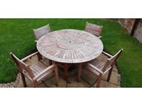 Wooden Table with 4 matching Chair Garden set.