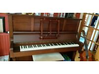 Piano with a beautiful tone and in full working order. Tuned regularly and well cared for.