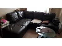 Brown Leather Corner sofa for collection only