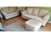 3 Seater & 2 Seater Leather Sofas plus Leather Pouffe, Excellent condition.