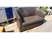 Real Leather 2 seater sofa - £20!