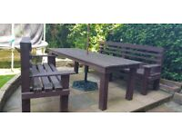 Large Wooden Garden Table, Benches (Hand made), Parasol and Stand