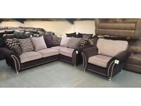 Ex-display Designer black/grey fabric studded corner sofa and armchair