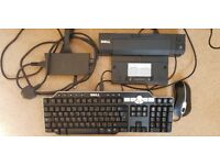 Dell K09A dock with power supply, keyboard & mouse