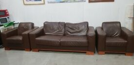 Brown Leather Sofa Bed Suite No040810