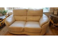 Extremely good condition cream 3 & 2 leather sofas from a pet and smoke free home
