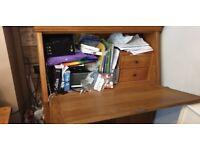 Solid oak desk/ bureau