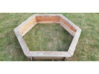 Hexagonal Wooden Sandpit and Lid (1.5m)
