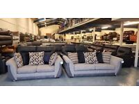 Ex-display Maisie natural weave fabric studded pillow back 3+2 seater sofas