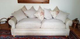Sofa Workshop two and three seater cream linen sofas.