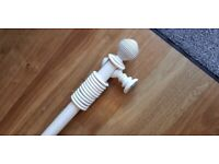 Curtain pole, 45mm diameter wooden distressed chalk white 2.8m length including ball finials
