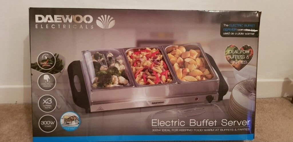 300 W Large Electric buffet server 3 Warming Trays Lids Hot Plate Food Kitchen