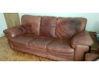 3-seater brown real leather sofa