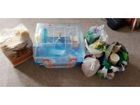 Hamster/Gerbil Cage with bedding, toys, sprays... everything.
