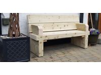 Double railway sleeper bench with arm support garden furniture set summer set Loughview Joinery
