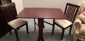 Mahogany Gateleg Dining Room Table and Two Chairs of Very Good Quality in Excellent condition