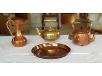 Copper & Brass Kettles, Jug & Tray