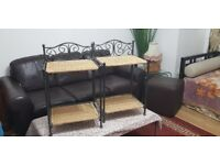BEAUTIFUL 2 X METAL SIDE TABLE CORNER TABLE FOLD ABLE.PRICE REDUCED