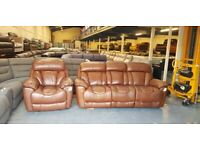 Ex-display Supreme Espresso leather manual 3 seater sofa and electric armchair