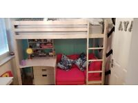 Single High Sleeper bed with desk and pullout bed