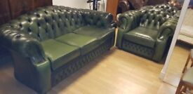 Lovely green leather quality Chesterfield large 3setter and large club chair