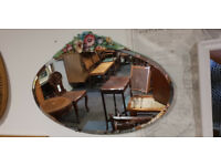 Lovely Vintage Art Deco Oval Frameless Bevelled Edge Wall Mirror with Decorative Floral Crest