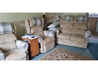 3 Piece Suite Set with 2 Rise & Recliner Chairs - Bespoke - Dual Motors - Excellent Condition