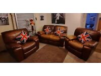DFS Brown real leather 2 seater manual reclining sofa 1 reclining chair 1 reclining rocker