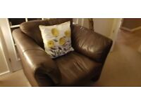 Real hide leather sofa brown