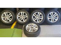 Peugeot Genuine 17 alloy wheels + 5 x tyres 215 55 17 All Season