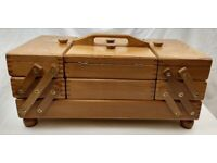 Vintage Cantilever / Accordion Wooden Sewing Storage Box Dovetail Fold Out Expandable
